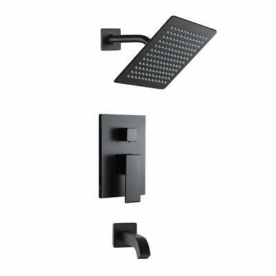 Matte Black Wall Mounted Rainfall Shower Faucet Set With Tub Spout Bathroom Kit