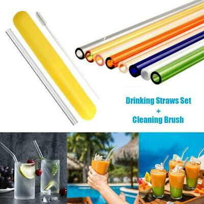 REUSABLE BENT GLASS Drinking Straws, Set of 6 With 2