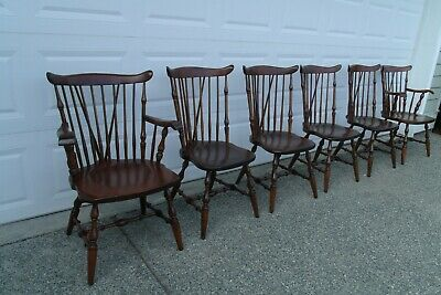 Set of 6 Cambridge Solid Wood Brace Back Windsor Chairs
