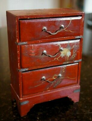 ASIAN LACQUER ORIENTAL Miniature Jewelry Chest/Box Hand Painted Made