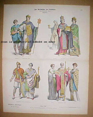 ANCIENT BYZANTINE EMPIRE Historic Costumes Dress Styles Antique Stone Lithograph
