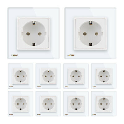 10Pcs LIVOLO EU Standard White Crystal Glass Panel Wholesale Sale Socket Outlet