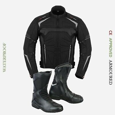 Men Motorcycle Racing Cordura Jacket Waterproof Real Leather Touring Long Shoes