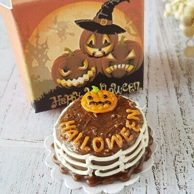 Dollhouse Miniatures Clay Halloween Pumpkin Sheet Cake Fancy Night Festival 24