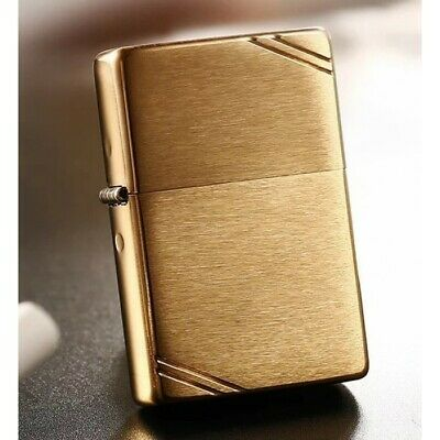 Gold Vintage Brush Brass 1937 240 with Slashes Zippo Lighter - AU STOCK