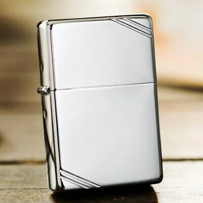 Silver Vintage Look High Polished 1937 260 with Slashes Zippo Lighter - AU STOCK
