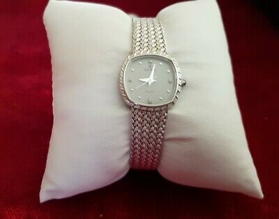 Cyma Vintage Silver 80s Womens Unisex Watch with 4 Diamonds. V Rare.