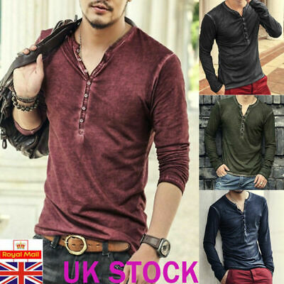 Mens Distressed Long Sleeve Tops Casual V-neck Buttons Blouse Plain T Shirt Tee