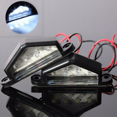 2x 4 Led License Number Plate Light Tail Rear Lamp Car Truck Trailer Lorry