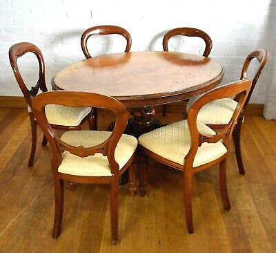 Antique Victorian oval tip up breakfasting dining table