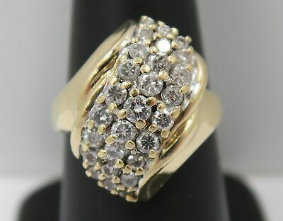 14K Gold ~ LARGE 1 Carat *NATURAL DIAMOND* Waterfall Style Cocktail Cluster Ring