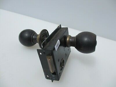 Victorian Iron Door Lock Antique Brass Bolt Handle Knob Old Bathroom WC Bolt