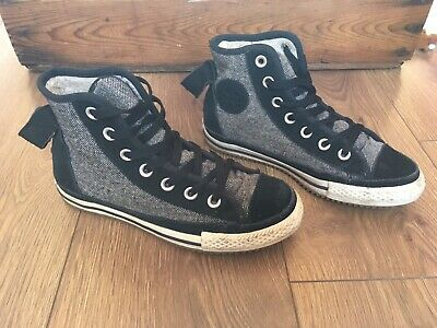 CONVERSE ALL-STAR HI TOP Girls black / White Furlined Trainers UK 3