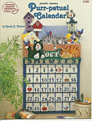 Purr-petual Calendar Plastic Canvas Pattern Leaflet cats kitties for 10 Mesh