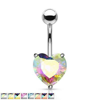 AB Effect Crystal Heart Surgical Steel Belly Bar / Navel Ring