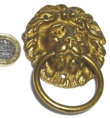 Antique Brass Lion Head Chest Drawers/Cupboard Pull Ring Handle Regency