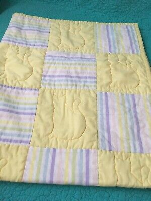 Handmade Baby Quilt W/Yellow & Pastel Stripe Blocks~Quilted Kitty Cats