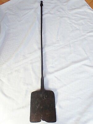 Primitive Antique Circa 1800 Hand Forged Wrought Iron Peel Fireplace Hearth Tool