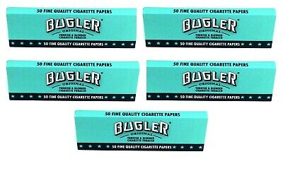 5 Pks Bugler Single Wide Cigarette Rolling Papers 250 Lvs $1.30/Pk! USA Shipped