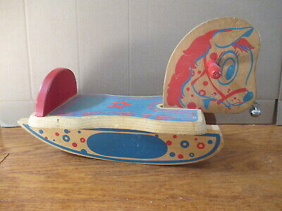 Antique Vintage Child's Wooden Ride On Rocking Horse 50's / 60's Bell Nose