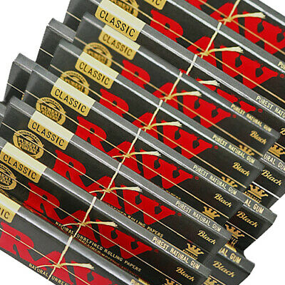 RAW Black Rolling Papers Classic King Size Slim 10 Booklets ~ 320 Leaves