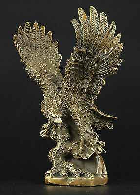 Collectible Decorated Old Copper Handwork Carve Eagle Statue
