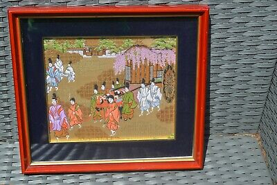 Vintage Asian Oriental Chinese Framed Picture Wall Art Scene on Fabric #2