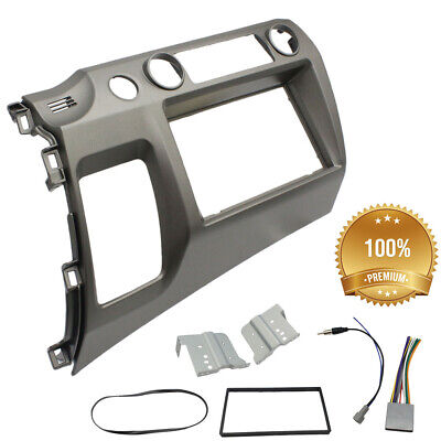 Grey Double Din Car Radio Dash Kit with Wiring Harness For 06-11 Honda Civic USA