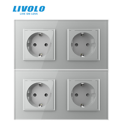 2Pcs Livolo EU Standard Double Plugs Socket Gray