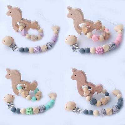 Wood Silicone Beads Pacifier Chain Clip Unicorn Beech Baby Teething Bracelet Set
