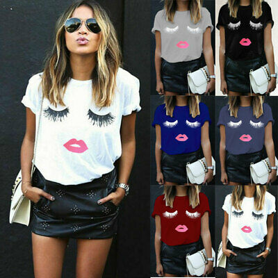 Womens Ladies Eyelash Summer Tops Short Sleeve Blouse T Shirt Pullover 6-24