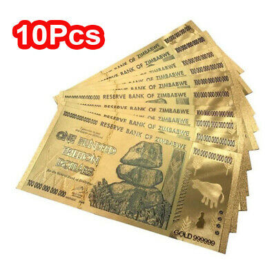 10Pack Zimbabwe 100 Trillion Dollar Note Color GOLD Foil Banknote Collection