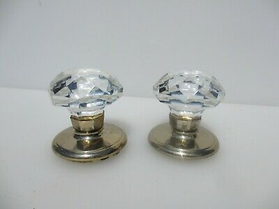 Late Vintage Door Knobs Handles Cut Glass Crystal Brass Plates Retro Old