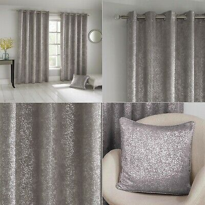 Grey Silver Shimmer Sparkle Halo Thermal Blockout Eyelet/Ring Top Curtains Pair