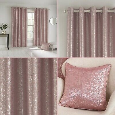 Pink Silver Shimmer Sparkle Halo Thermal Blockout Eyelet/Ring Top Curtains Pair