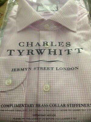 "Charles Tyrwhitt Mens Slim Fit Non Iron  Shirt Pink Check Size 16.5"" Rrp £39.95"