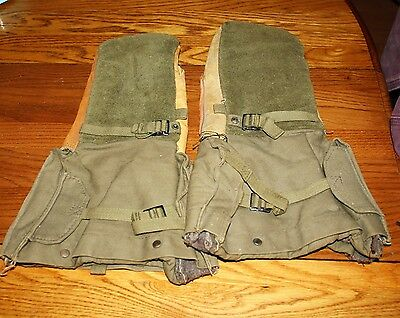 Post Wwii Leather And Canvas Extreme Cold Mittens