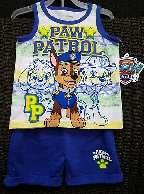 Nickelodeon Paw Patrol Size 2T Tank Top Shirt and Shorts 2 Piece Outfit Set NWT