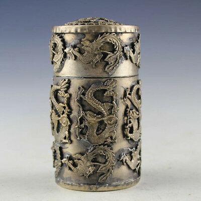 Chinese Old Handwork tibet silver Dragon Phoenix Toothpick box