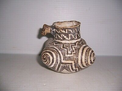 Pre-Columbian Anasazi Pottery 4 Corner Pitcher Pot with Animal Effigy   - Adobe