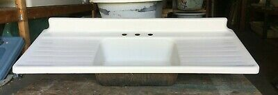 "Vtg Cast Iron White Porcelain 60"" Single Basin Farmhouse Kitchen Sink 136-19E"
