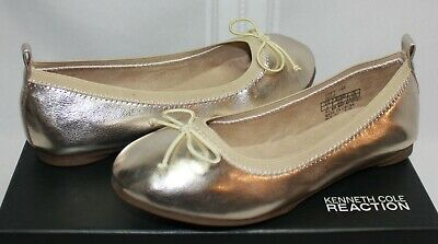 Kenneth Cole Reaction Kids Copy Tap ballet flats gold metallic NEW WITH BOX