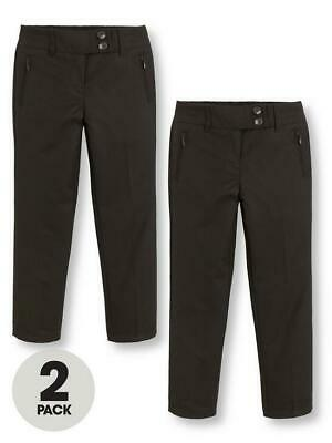 V by Very Girls 2 Pack Skinny School Trousers Black Size: Age 13-14