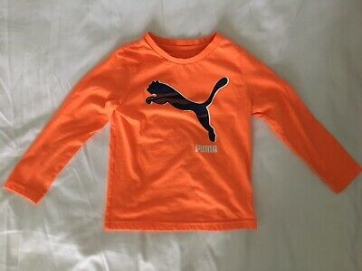Puma 4t Long Sleeve Tee. Bright Orange. Boys