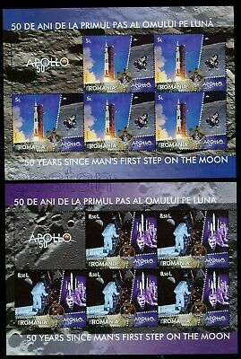 2019 Apollo 11 - 50th Anniv.,Armstrong,Space,Oberth,von Braun,Romania,KB/MNH
