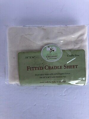 TL Care Knit Fitted Cradle Sheet Organic Cotton 18 x 36 Natural Color (0162)