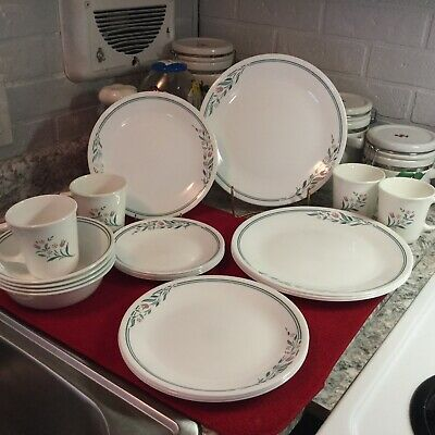 Corelle Rosemarie 20 Pcs Service For 4 Dinner Plates~ Cereal~Luncheon~B&B~Mugs