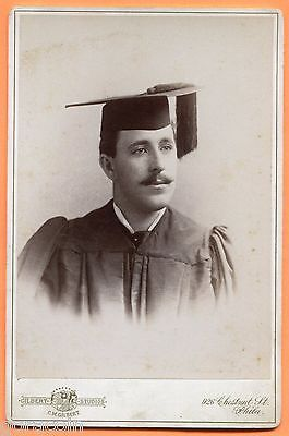 Philadelphia, PA, Portrait of Man in Cap & Gown, by Gilbert, ca 1890s Backstamp