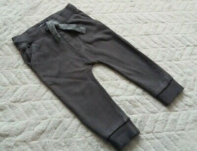 Baby Boys 100% Cotton Dark Grey Joggers Jogging Pants (12-18 Months) - By Next
