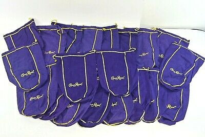 12 inch Lot of 20 Crown Royal 1.75L Large Purple /& Gold Drawstring Bags